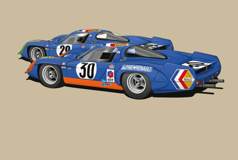 New Le Mans Alpines poster image – work in progress!